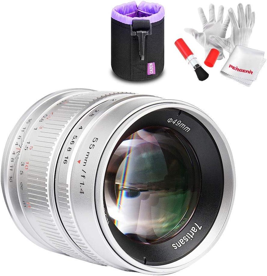7artisans 55mm F1.4 Portrait mit gro/ßer Blende Manueller Fokus Mikrokameraobjektiv Passend f/ür Panasonic Olympus Mikro-M4 3-Halterung und TUYUNG-Stoff auftragen