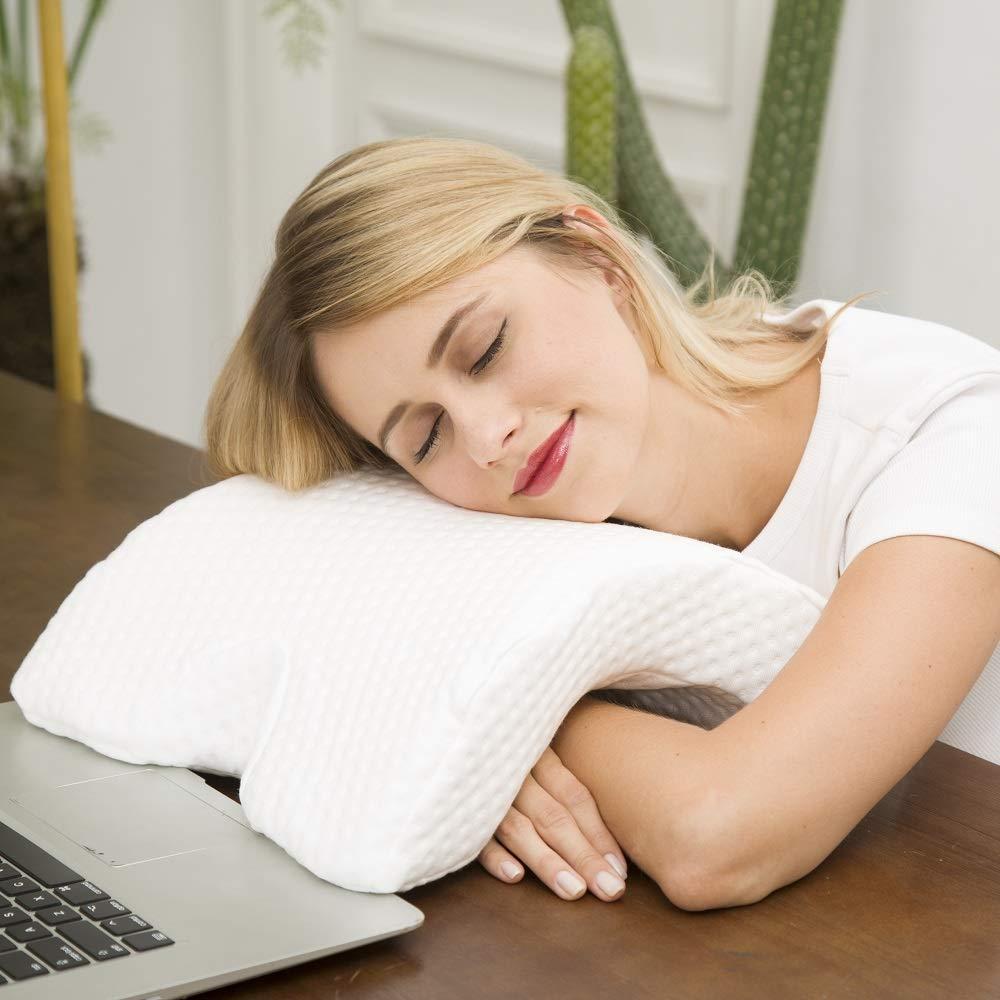 Slow Rebound Pressure Romantic Couple Pillow Side Sleeper Pillow Cervical Neck Pillow for Sleeping U Shaped Ice Silk Fabric LHOTSE Memory Foam Pillow Arched Pillow Couple Travel Pillow