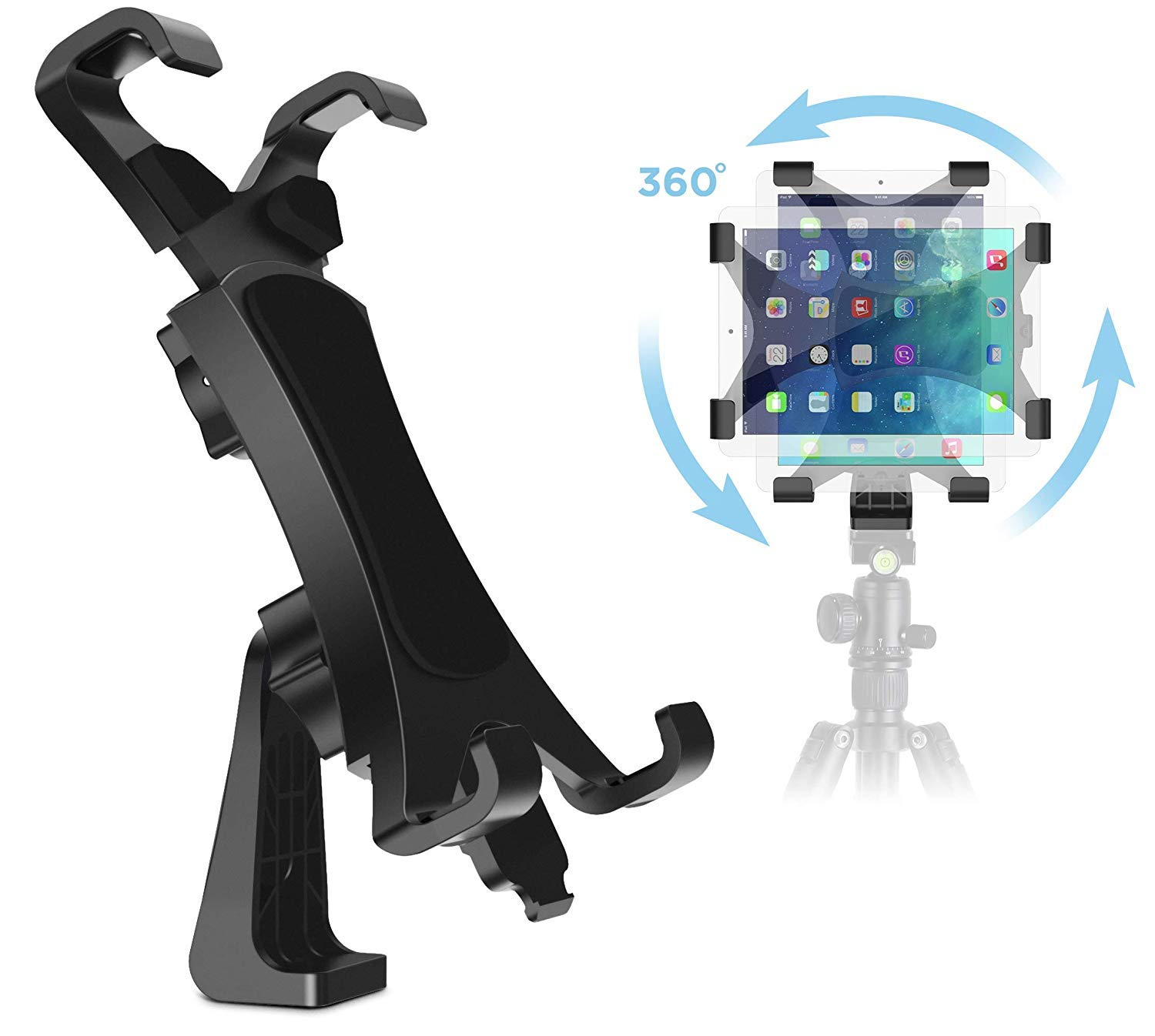 IPOW 360 Degree Rotatable Break-Resistant iPad Tripod Mount Adapter, Universal Tablet Clamp Holder Fits Ipad Air, Pro, Mini, Microsoft Surface, Nexus, for Tripod Monopod, Selfie Stick,Tabletop Stand by IPOW