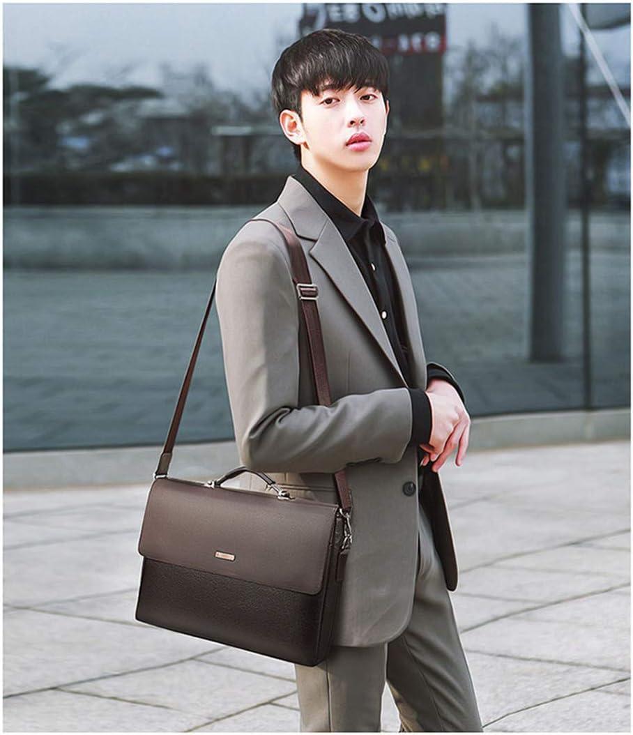 Men Briefcase Leather Laptop Handbag Tote Man Bag For Male Shoulder Bag black