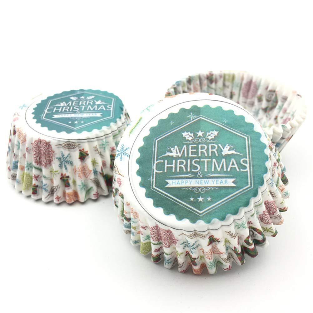 BESTONZON 100 UNIDS Christmas Cupcake Liners Cupcake Wrappers Accesorios de cocina a prueba de aceite: Amazon.es: Hogar