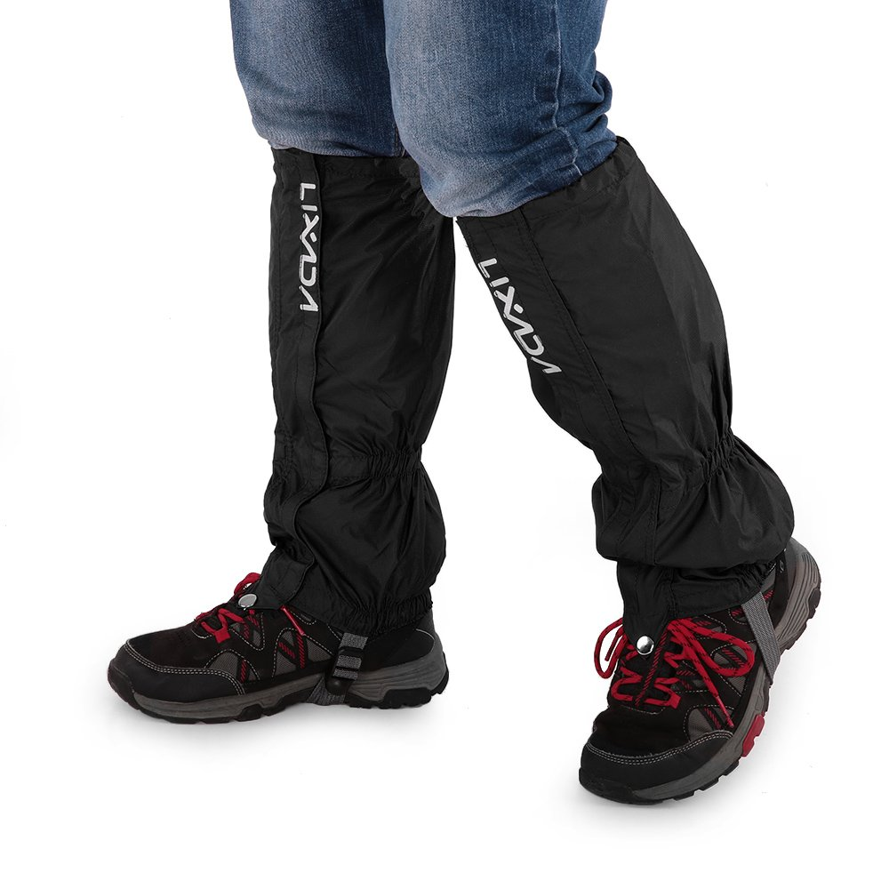1 Pair of Gaiters Outdoor Unisex Polyester pongee Zippered Closure Wear and Water Resistant Cloth Gaiters Leggings Cover (Black)