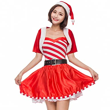 c25b1d54da Amazon.com: MV Women New Christmas Dress Sweet Striped Candy Party ...