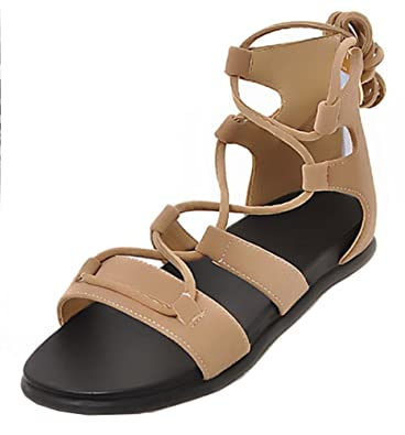 495998e3a SHOWHOW Women s Retro Gladiator Open Toe Self-tie Flats Sandals Apricot 4  B(M