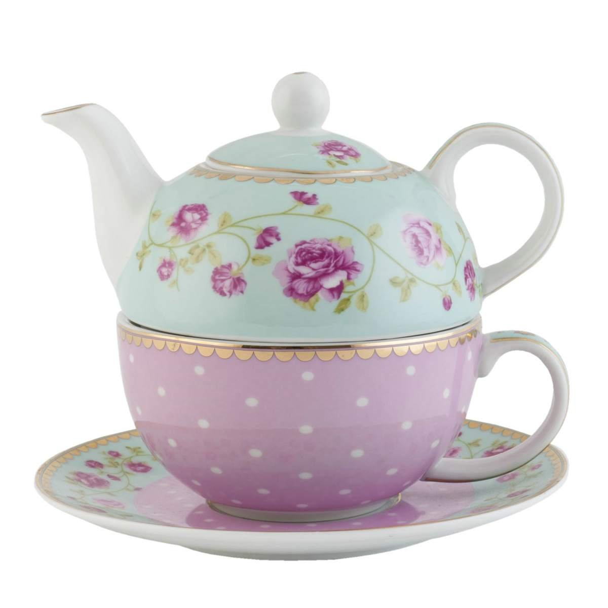 Clayre & Eef GRTEFO Tea for one Teekanne & Tasse Blumen ca. Ø 16 x 15 cm