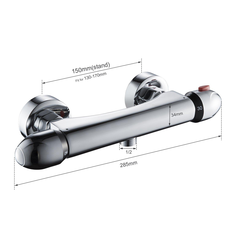 BONADE Duscharmatur mit Thermostat Chrom Brausethermostat für
