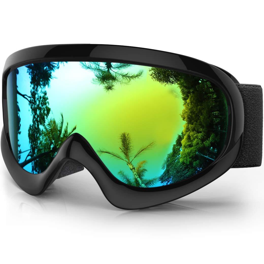 Findway Gafas Esqui Niño Mascara Esqui Niño Gafas de Esqui Niño Niña OTG Ajustable para Niños Anti-Niebla Protección UV Compatible con Casco para Esquiar ...