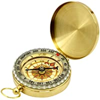 Elenxs Outdoor Camping Hiking Portable Pocket Copper Compass Navigation with Noctilucence Display