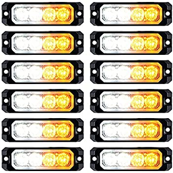 30W IP68 6-LED Emergency Warning SYNC Strobe Light Surface Mount Car Truck 12V-24V 4pcs, Amber