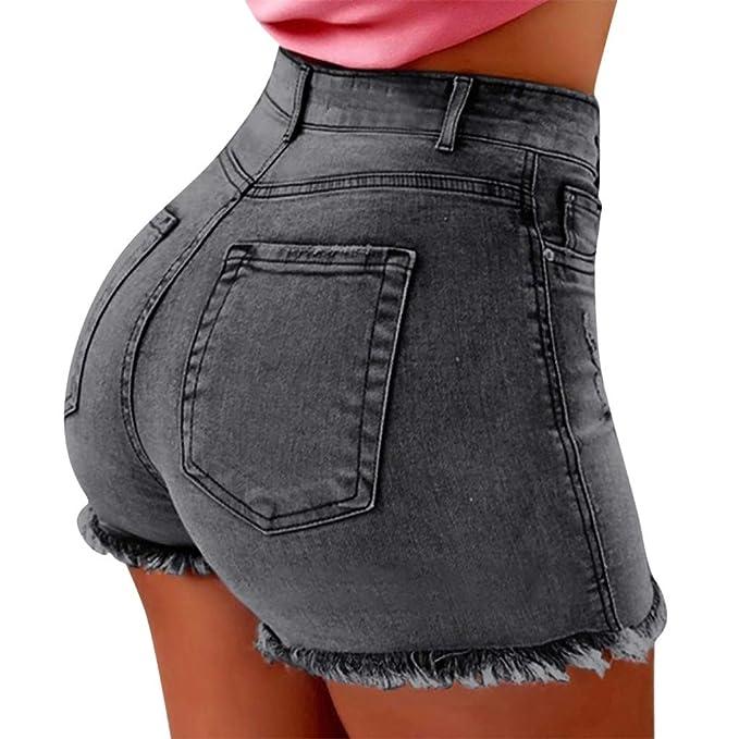 Qingsiy Pantalones Cortos Mujer Básicos Gimnasio Pantalones ...
