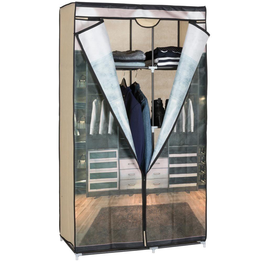 BAKAJI Armadio In Tessuto Guardaroba Vestiti CLOSET Appendiabiti Campeggio 88x45x160cm