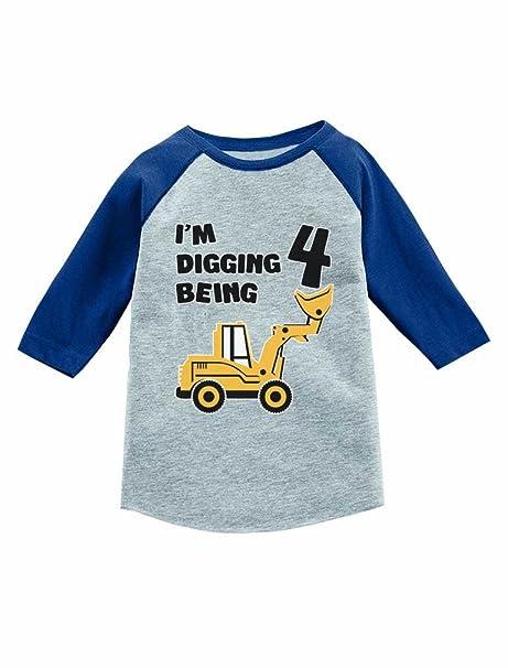 Tstars 4th Birthday Gift Construction Party 3 4 Sleeve Baseball Jersey Toddler Shirt 2T Blue