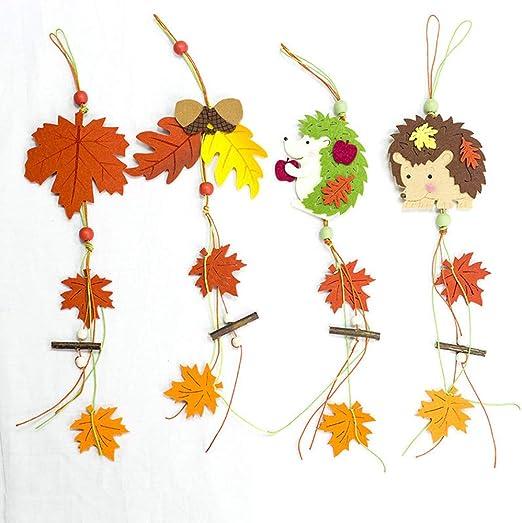 Herbstbl/ätter Topcosplay H/änger Bl/ätter 4er Set Ahornblatt Herbstbl/ätter Fenster Deko Christbaumschmuck Eichh/örnchen H/änger