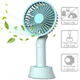 Mini Handheld Fan, Portable USB Fan with Dock, Dual Use Rechargeable Desktop Fan for Office, Outdoor, Camping, Beach etc, Personal Travel Accessories - (3 Speed, Blue)