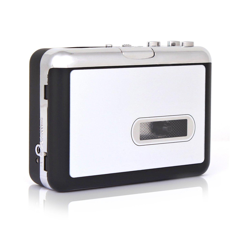 EAS Portable Auto Reverse Cassette To MP3 Music Converter Player (Tape-To-MP3 Converter,KDJ03, Black)