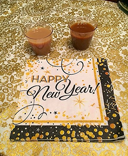 56 Piece Glitz and Glamour Happy New Year's Eve Party Plates, Napkins and Shooter/Shot Glasses Kit
