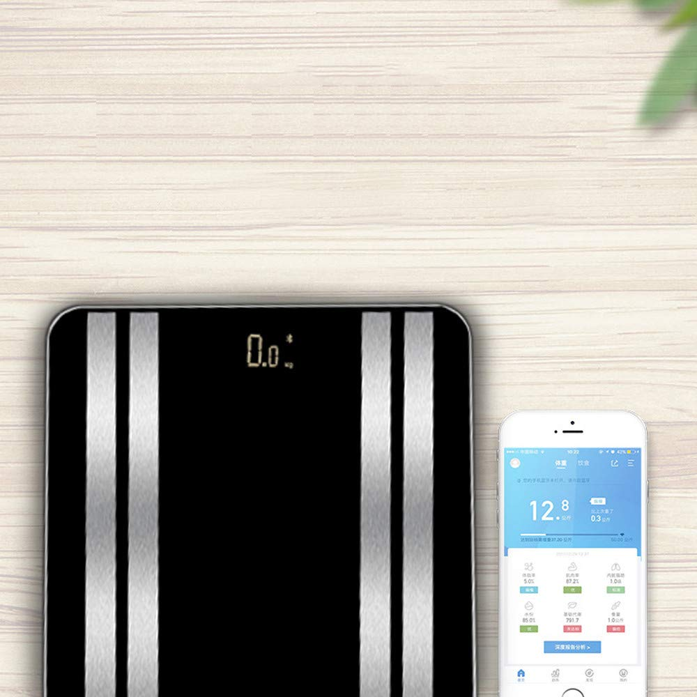 JinJin Scale Bluetooth Body Scale Smart Scale Digital Bathroom Wireless Weight Scale iOS & Android APP for Body Weighc (black) by Jinjin (Image #5)