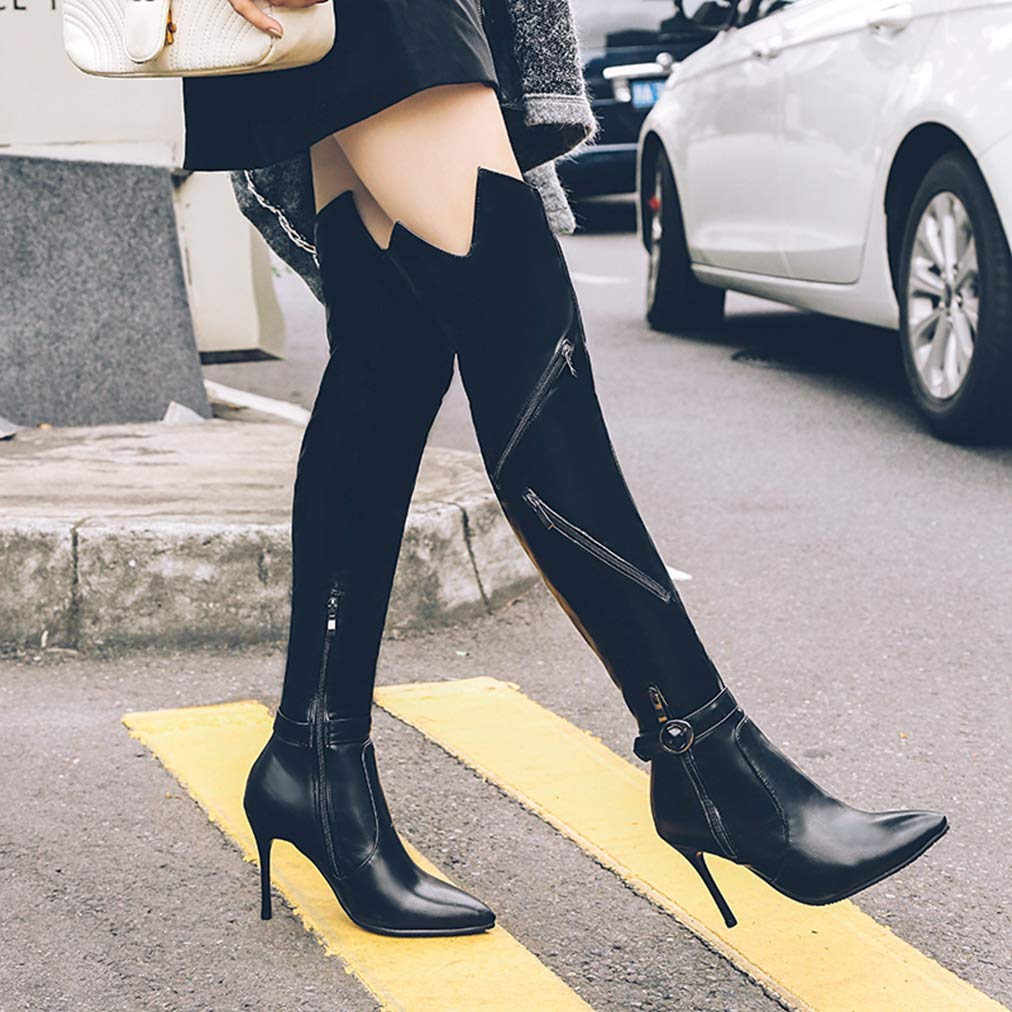 JOYBI Woman Waterproof Over-The-Knee Boots Pu Zipper Pointed Toe Buckle High Thin Heels Motorcycle Boots