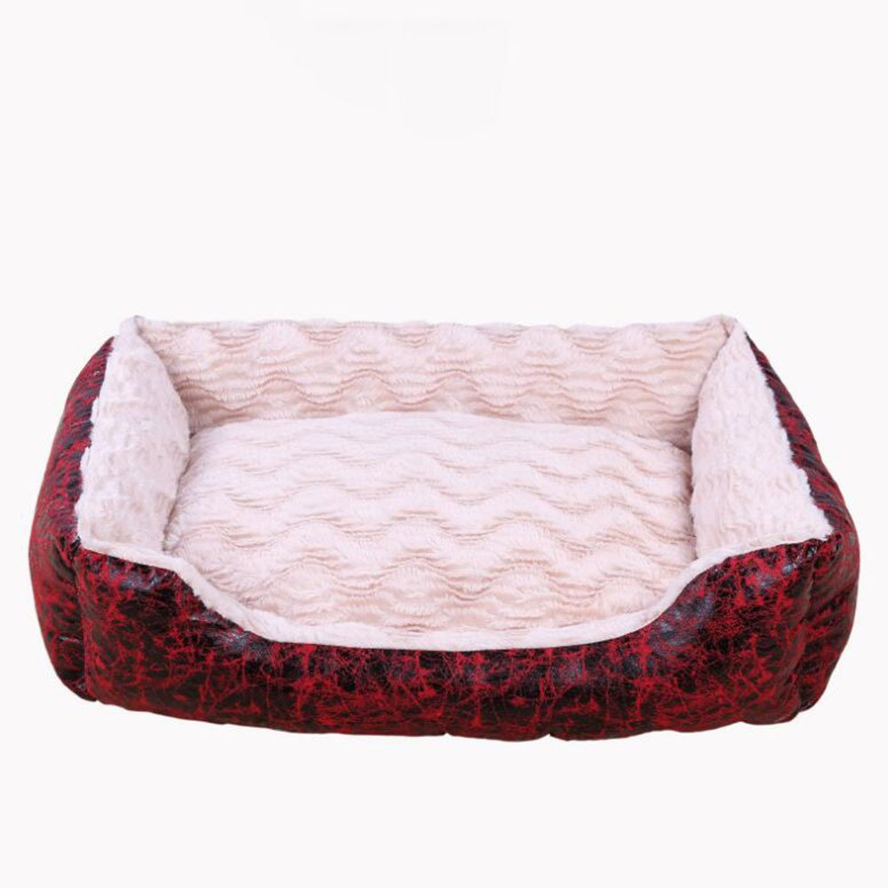 504019cm Dixinla Pet Bed Removable and Washable Wavy Kennel Dog mat Large Dog Bed Wavy Velvet + Suede Red