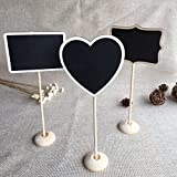 BJE Chalkboard 4 Mini Message Board, Chalk Board, Blackboard with Stand, Heart, Rectangle, Ractange message board