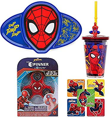 Snack Web Spider-Man Straw Tumbler Cup Set Disney Super Hero Drinking & Stickers + Dish with Compartments Plate & Ultimate Marvel Spider-Man Stickers & Toy Pack