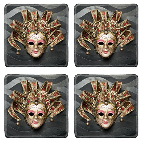 MSD Square Coasters Non-Slip Natural Rubber Desk Coasters design: 27630256 Beautiful classical mask from Venice on black wall Carnival mask Venetian tradition (Venetian Masks Sale Wall For)