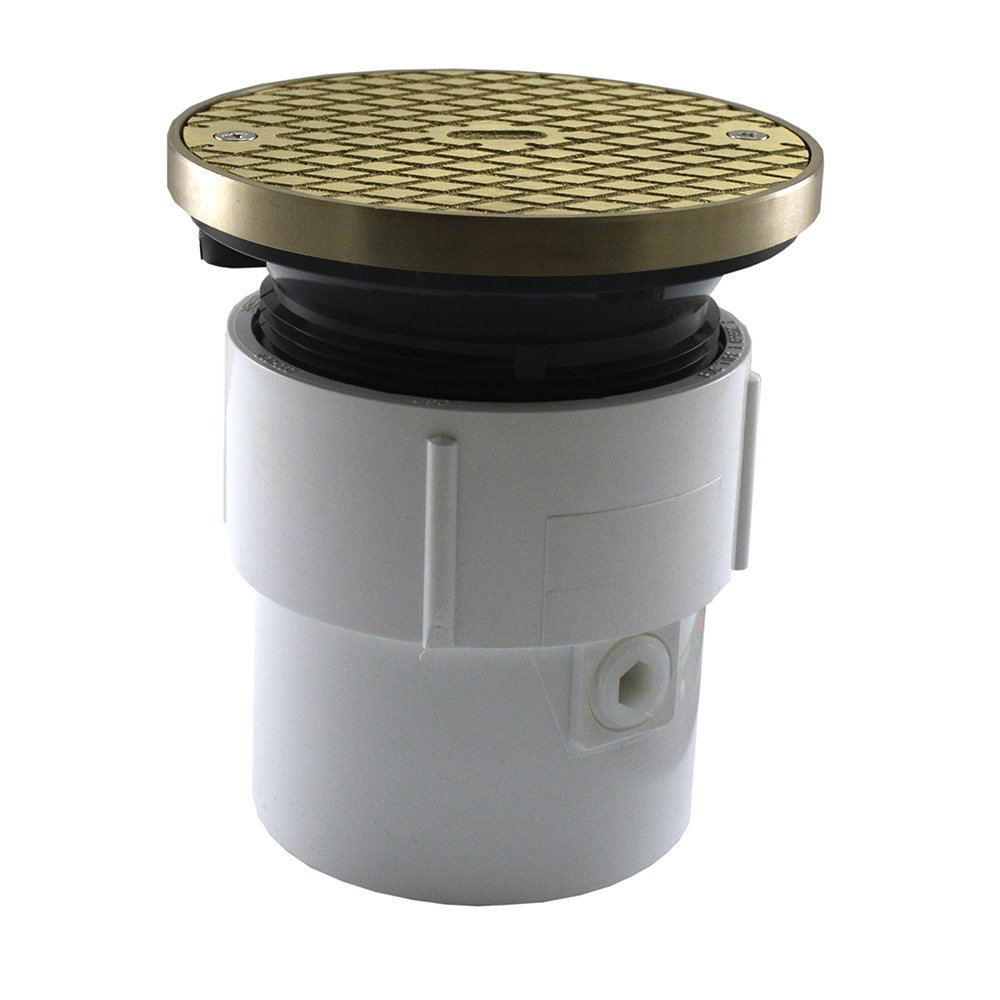 Jones Stephens, JS 3'' x 4'' Pipe Fit Base Cleanout with 3-1/2'' Plastic Spud 5'' Nickel Bronze Round Cover with Ring PVC - C59219