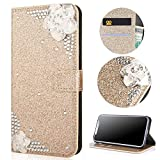 Stysen Galaxy S8 Plus Wallet Case,Galaxy S8 Plus Glitter Flip Case,3D DIY Handmade Shiny Bling Sparkle Diamond Rhinestone Pattern Gold Pu Leather Soft Inner Folio Magnetic Closure Bookstyle Card Slots Pouch with Strass and Stand Function Luxury Fashinable Elegant Protective Wallet Case Cover for Samsung Galaxy S8 Plus-White Flower,Gold