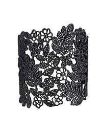 Seraiel Women's Vintage Chantilly Lace Hollow Wide Adjustable Cuff Bangle Bracelets