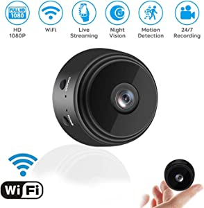 Mini Camera WiFi Wireless Video Camera,1080P HD Small Home Security Cameras with 32G SD Card, for Car Home Outdoor Indoor Security Nanny Camera Night Vision/Motion Detection with Monitor Phone App