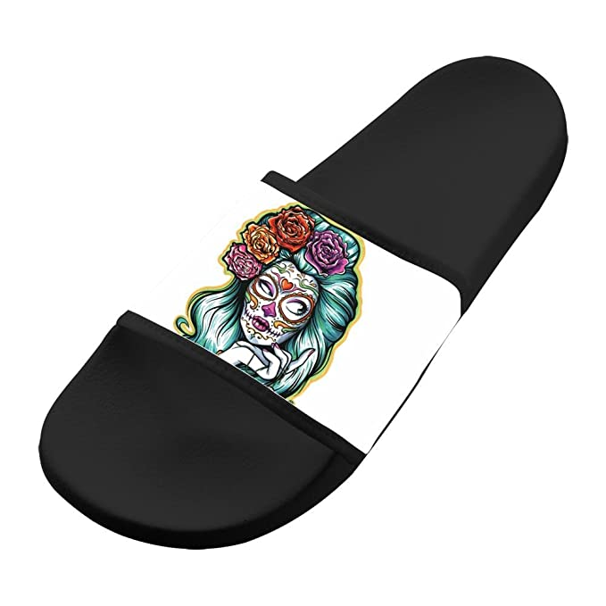 17d946485c7a6 Amazon.com  Custom Slippers Antiskid Lovers Flip-flop Sugar Lady Skull  Shoes Flat Sandals Outdoor Adult  Clothing