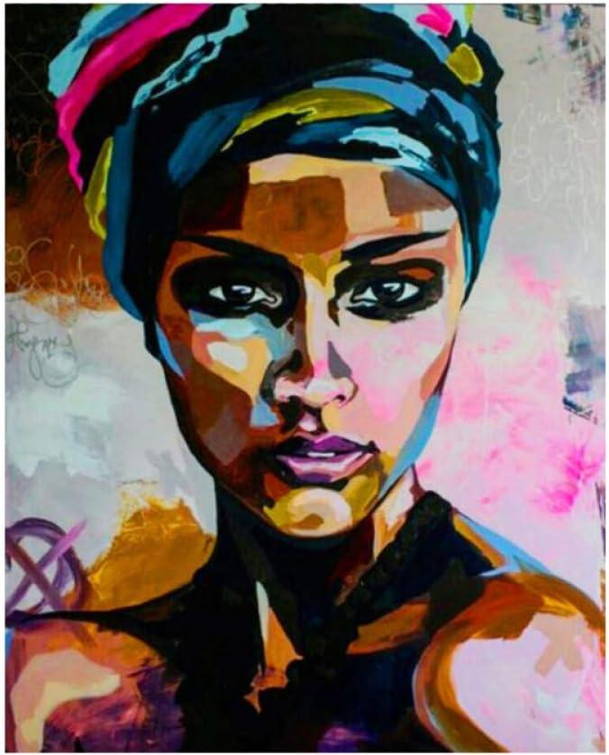 LWJZQT Acuarela Abstracta Retrato De Mujeres Africanas Pintura Al Óleo sobre Lienzo Carteles E Impresiones Escandinavos Cuadro De Pared para Sala De Estar 70 × 100 Cm