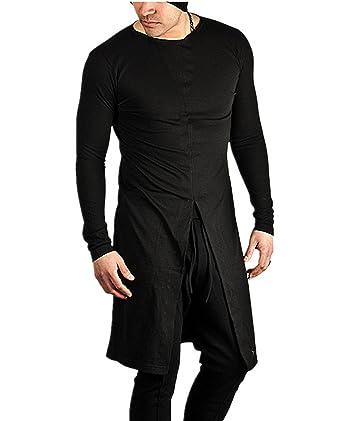 e6e1d5eedb7a Nidicus Mens Fashion Longline Split Long Sleeve Gown Hip Hop Dance T-Shirt  Black M