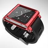 Kepuch Apple iPod Nano 6 6nd 6G 6Th Aluminio Metal correa ver BandaMuñeca Equipo Carcasa Funda Smart Case Cover Para Apple iPod Nano 6 6nd 6G 6Th,Rojo