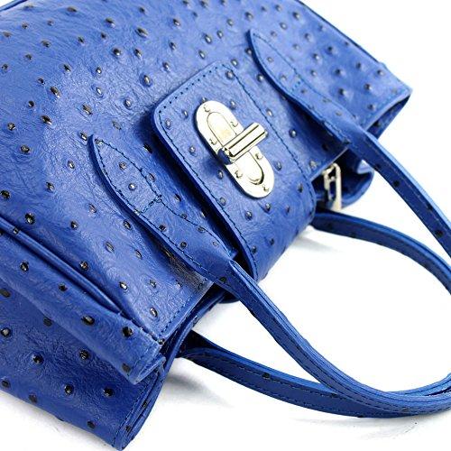 à Strauß main sac cuir Sac TL03 petit cabas sac croco femme en Blau sac italien mini fqqIH
