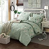 HOLY HOME Duvet Cover Set 100% Cotton Plush Sanded Ultra Soft & Coziest Bedclothes 4 Pieces Naked Sleeping Gray Theme Twin Size 70''x86'' Little Daisy