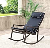 Living Express Modern Patio Rocking Chair with Headrest Pillow,All-Weather Wicker with Washable Cushion,Steel Frame Rocking Chair for Garden,Porch,Backyard,Blue