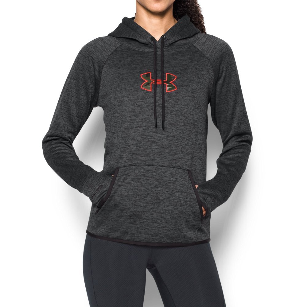 Under Armour Women's Icon Caliber Hoodie, Carbon Heather (092), X-Small