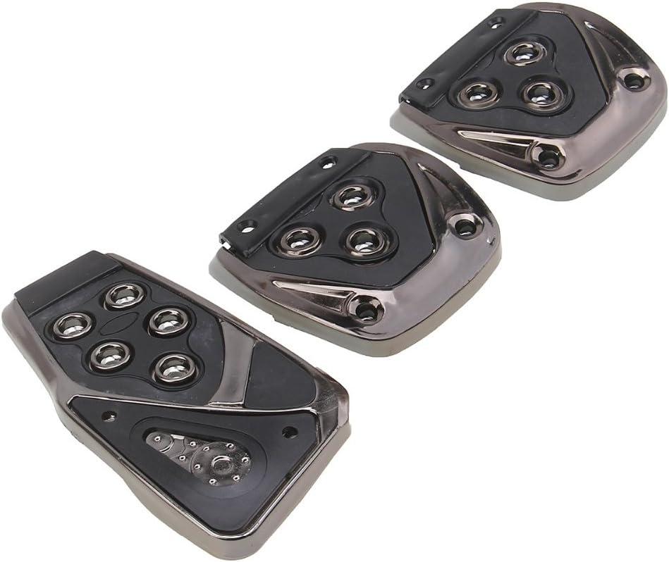 3PCS Manual Brake Clutch Accelerator Foot Treadle Auto Pedal Pad Board Set Black