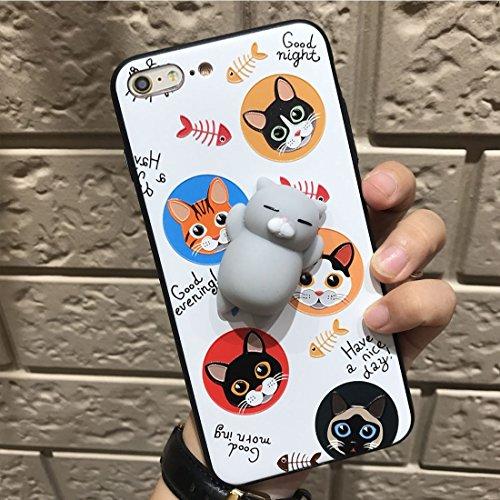 Phone Taschen & Schalen Für iPhone 6 Plus & 6s Plus schwarzer Hintergrund 3D Katze Cartoon-Muster Squeeze Relief IMD Verarbeitung Squishy schützende Rückseite Case ( Size : Ip6p5743w )