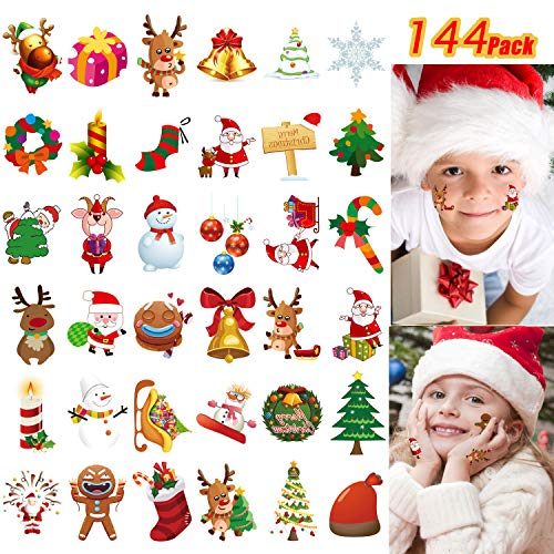 144 PCS Assorted Christmas Temporary Tattoos, Waterproof Body Face Stickers Birthday Stocking Stuffed Xmas Gifts Party Favors for Adults Kids, 72 Patterns -