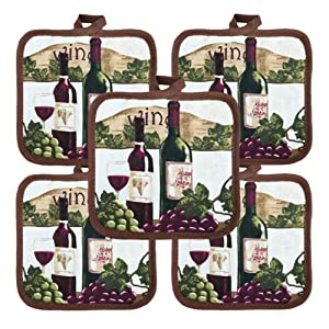 """American Linen Heat Resistant Pot Holders 6.5"""" Square Solid Color (Pack of 10) 
