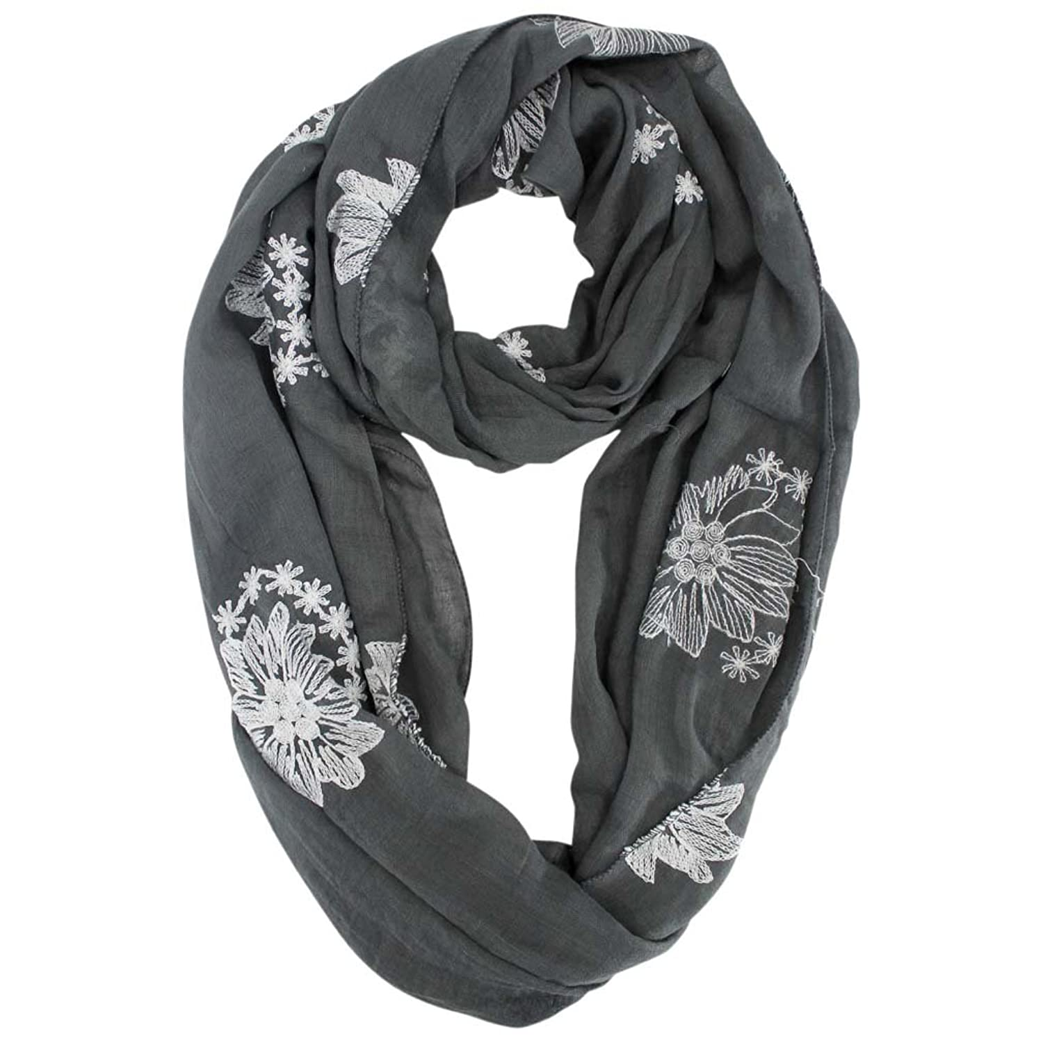 Luxury Divas Silky Lightweight Circle Scarf With Floral Embroidery