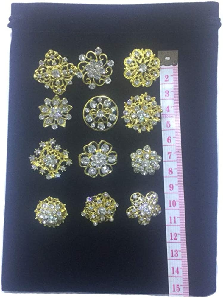 Ezing Lot 36pc Crystal Flower Brooches Pins Wholesale for DIY Wedding Bouquet
