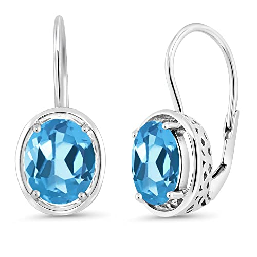 Gem Stone King 3.60 Ct Oval Swiss Blue Topaz 925 Sterling Silver Dangle Earrings