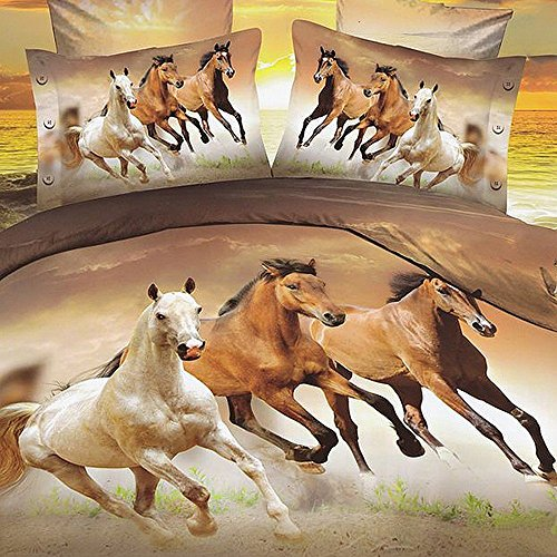 Babycare Pro Galloping Horse 3D Bedding Sets Full Size for Teen Kids Duvet Cover Set with Flat Sheet Full Polyester 4 Pieces,1 Duvet Cover Sets,1 Flat Sheet,2 Pillow Cacses,No Comforter(Full)