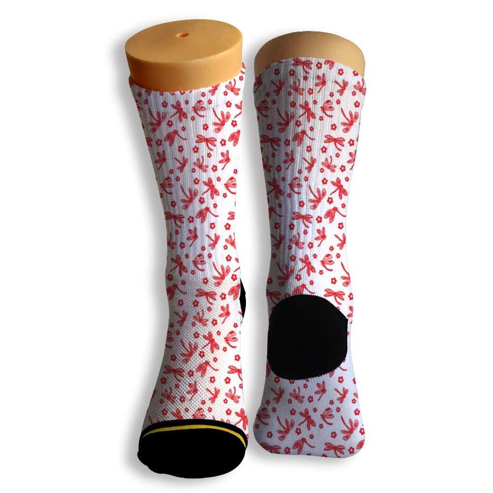 Basketball Soccer Baseball Socks by Potooy Lots of Red Dragonflies 3D Print Cushion Athletic Crew Socks for Men Women
