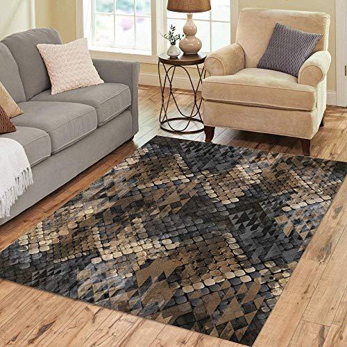 Pinbeam Area Rug Brown Wild Snakeskin Navajo Ornaments and Watercolor Effect Home Decor Floor Rug 3' x 5' Carpet