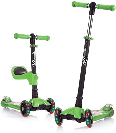 Lascoota 2-in-1 Kick Scooter with Removable Seat Great for Kids & Toddlers Girls or Boys - Adjustable Height w/Extra-Wide Deck PU Flashing Wheels for Children from 2 to 14 Year-Old (Green): Amazon.co.uk: