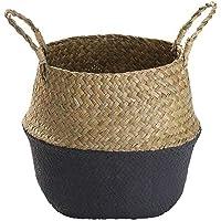 EElabper Cesta de almacenamiento de hierba marina, cesta de almacenamiento tejida para macetas para lavandería, hogar…